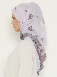 Lilac - Printed - Chiffon - Scarf