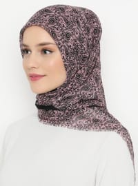 Dusty Rose - Black - Printed - Viscose - Scarf