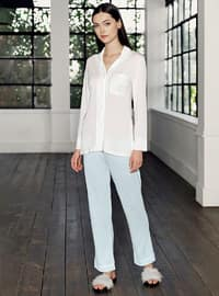 Blue - Shawl Collar -  - Viscose - Pyjama Set