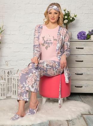 Lilac - Crew neck - Floral -  - Pyjama Set