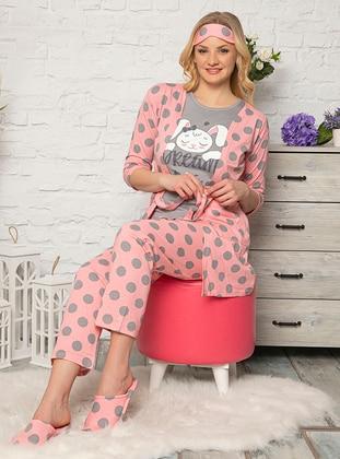 Pink - Crew neck - Polka Dot -  - Pyjama Set