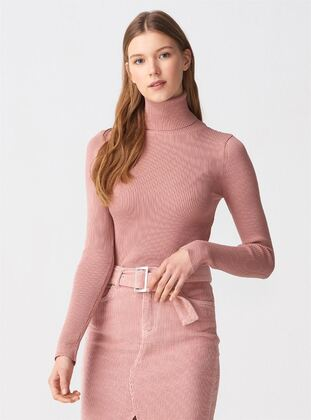 Pink - Polo neck -  - Jumper
