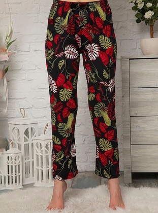 Black - Floral - Viscose - Pyjama