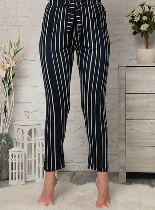 Navy Blue - Stripe - Viscose - Pyjama - Fawn