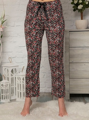 Red - Multi - Viscose - Pyjama - Fawn