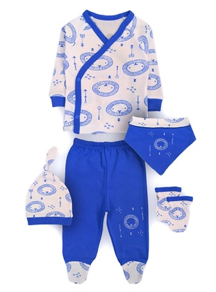 Blue - Multi - V neck Collar - Cotton - Multi - Blue - Baby Suit