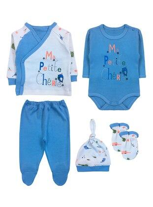 Blue - Crew neck - V neck Collar - Cotton - Blue - Baby Suit