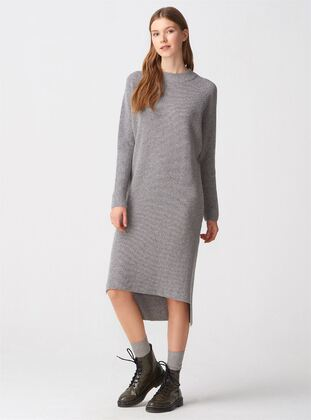 Gray - Crew neck - Unlined -  - Dresses