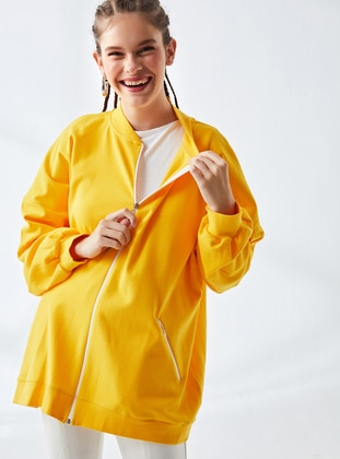 Yellow - Unlined - Crew neck -  - Jacket