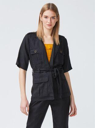 Black - Unlined - Shawl Collar - Linen - Jacket