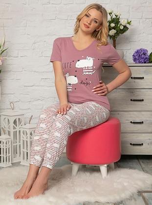 Lilac - V neck Collar - Multi - Pyjama Set