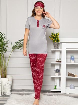 Maroon - Floral - Mink - Crew neck - Viscose - Pyjama Set