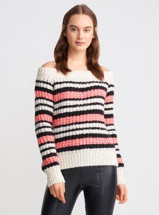 White - Ecru - Salmon - Stripe - Boat neck - Knitwear