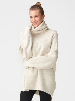 Beige - Polo neck -  - Jumper