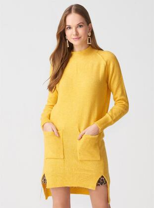 Yellow - Polo neck - Acrylic -  - Tunic