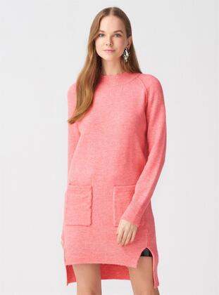 Pink - Polo neck - Acrylic -  - Tunic