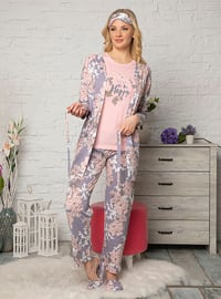 Lilac - Crew neck - Floral - Cotton - Pyjama Set