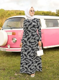 Lacivert - Yuvarlak yakalı - Astarsız kumaş - Elbise