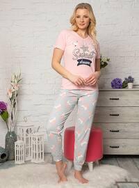 Pink - V neck Collar - Multi - Pyjama Set