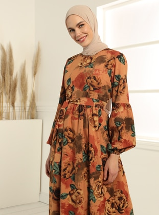 Floral Print Dress - Camel