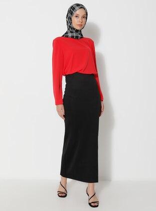 Black - Unlined - Viscose - Skirt