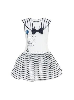Stripe - Crew neck -  - Fully Lined - White - Navy Blue - Girls` Dress
