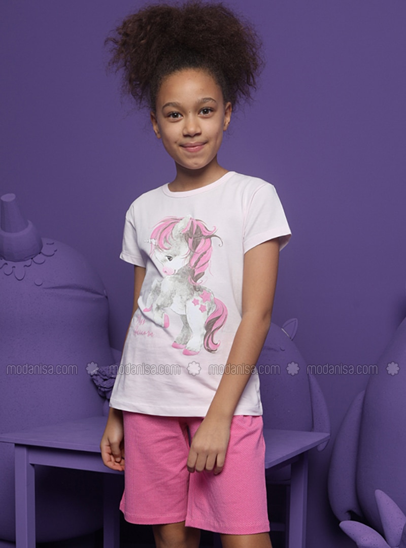 Crew neck -  - Unlined - Pink - Girls` Pyjamas