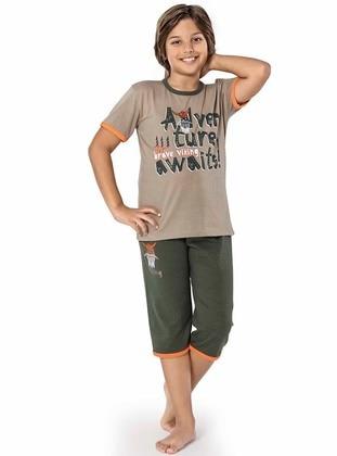 Crew neck -  - Brown - Green - Boys` Suit