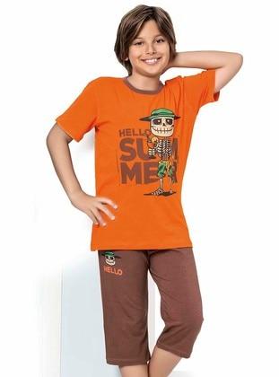 Crew neck -  - Brown - Orange - Boys` Suit