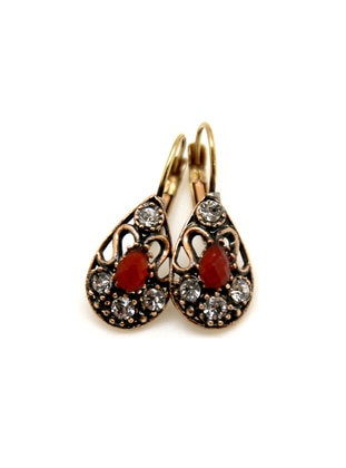 Gold - Red - Earring