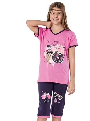 V neck Collar -  - Pink - Girls` Suit