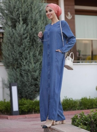 Blue - Unlined - Crew neck - Denim - Abaya