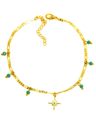 Gold - Turquoise - Anklet