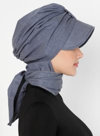 Blue - Plain - Pinless -  - Instant Scarf