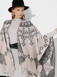 Powder - Multi - Unlined - Acrylic - Wool Blend - Poncho