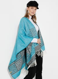 Turquoise - Multi - Unlined - Acrylic - Wool Blend - Poncho