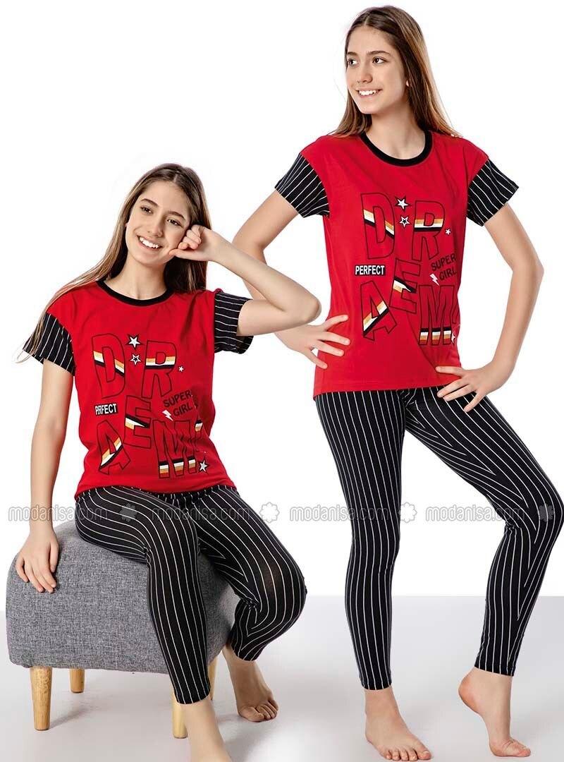 Stripe - Crew neck - - Red - Girl Suit