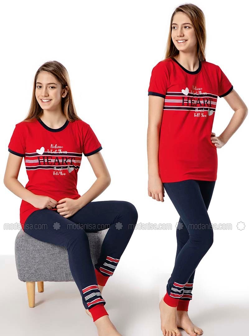 Crew neck -  - Red - Navy Blue - Girl Suit