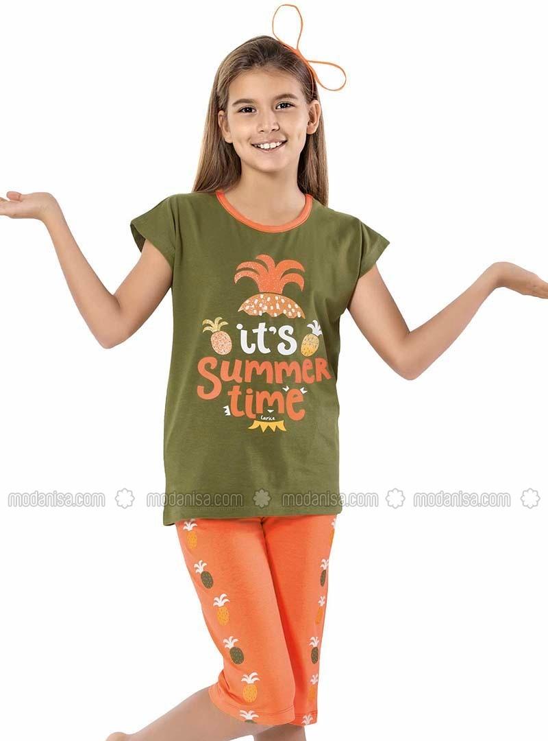 Crew neck -  - Khaki - Orange - Girls` Suit