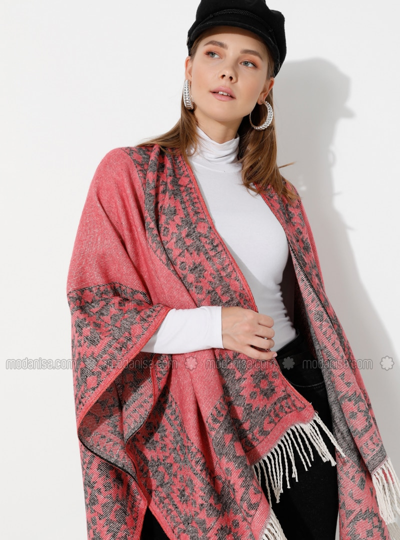 Coral - Multi - Unlined - Acrylic - Wool Blend - Poncho