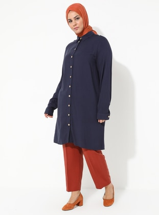 Navy Blue - Point Collar - Viscose - Plus Size Tunic