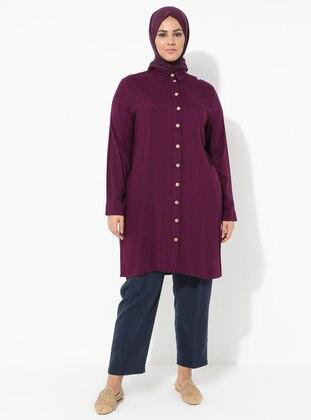 Plum - Point Collar - Viscose - Plus Size Tunic