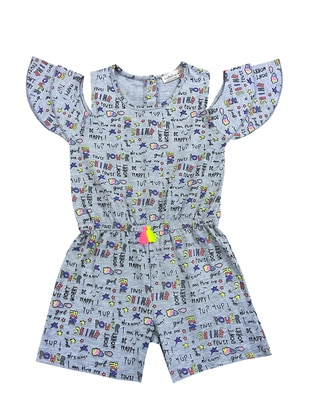 Gray - Multi - Crew neck -  - Girls` Salopettes & Jumpsuits
