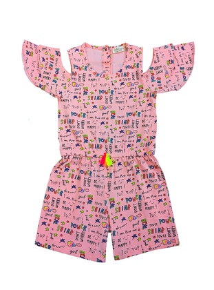Pink - Multi - Crew neck -  - Girls` Salopettes & Jumpsuits