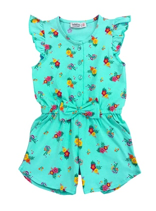 Turquoise - Multi - Crew neck -  - Girls` Salopettes & Jumpsuits