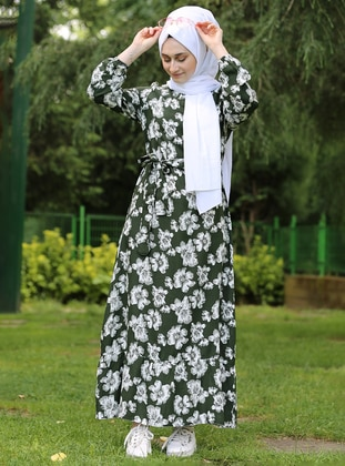 Green - Floral - Crew neck - Viscose - Dress