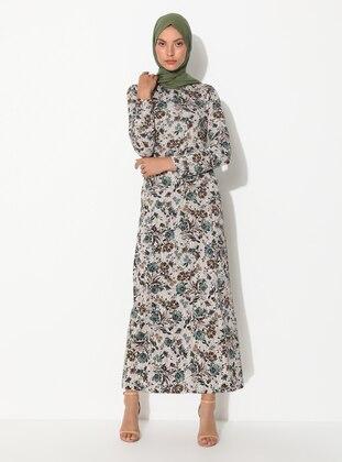 Brown - Mink - Floral - Crew neck - Unlined - Dress