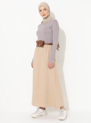 Beige - Unlined - Linen - Skirt