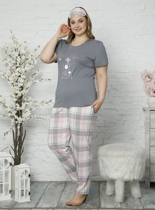 Gray -  - Plaid - Plus Size Pyjamas - İnşirah