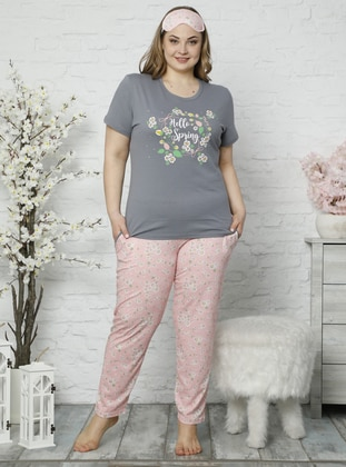Gray - Powder -  - Multi - Plus Size Pyjamas - İnşirah